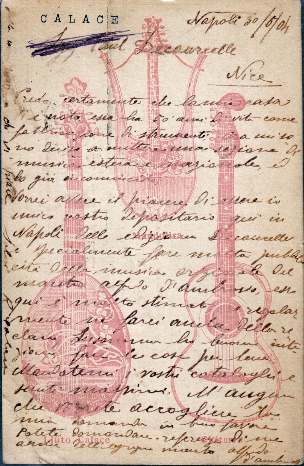 A postcard by Raffaele Calace (1904) - Back with mandolyra, liuto and guitar